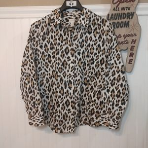 Chico's: Animal Print No Iron Blouse Size 3
